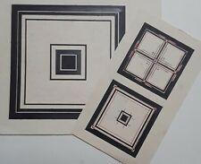 Bauhaus Umkreis, 3 konstruktivistische Studien auf 2 Blättern, Gouachemalerei