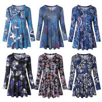 Womens Vintage Long Sleeve Floral Print Casual Loose Tops Tunic Blouse Shirt Tee