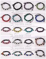 S005/18 colors Fashion Shamballa Bracelet 10MM 9 Disco Crystal Clay Balls gift