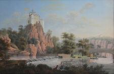 JOHANN F. NAGEL-German-2 Original Early Gouache Paintings-Sornitz Castle-c. 1790