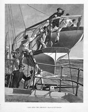 LIFEBOAT RESCUE NAVY SHIP SAILORS VINTAGE ENGRAVING CALL AWAY THE LIFEBOAT
