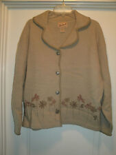 Woolrich Beige BOILED WOOL Pewter Buttons FLORAL DESIGN Sweater Blazer JACKET L
