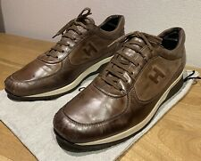 HOGAN SNEAKERS BROWN LEATHER CUIR MARRON TAILLE 12 45 INTERACTIVE