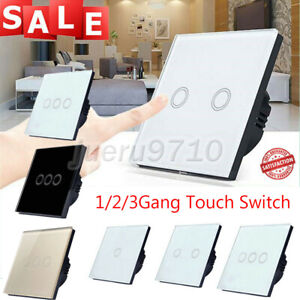 1/2/3 Gang LED Light Touch Switch Panel Wall Screen Smart Switch Tempered Glass