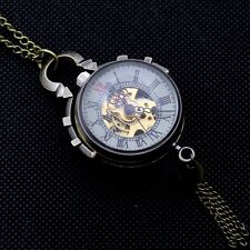 Retro Steampunk Skeleton Mechanical Pocket Watch Big Glass Ball Necklace Chain