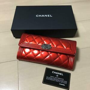 Chanel Boy Patent Leather Enamel Purse red Color