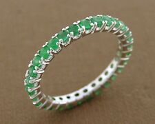 R122- Genuine 9K 9ct White Gold NATURAL Emerald Full Eternity Band Ring size M