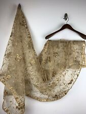 $29 Deal Gold Dupatta Party Wear Wedding Scarf  Heavy embroidered 96*37