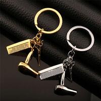 Women Silver/Gold Hairdresser Scissors Comb Stylist Key Ring Pendant KeyChain SK