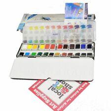 Daler Rowney Aquafine 24 watercolour metal box half pan student water color