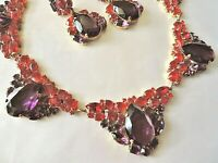 Stunning Czech Juliana Style Purple Red Rhinestone Glass Necklace & Earring Set