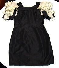 D&G Kalomira black taffeta oversized frill sleeve dress IT44 UK10