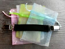 """Black Stretch DRESS CINCH CLIP 3/4"""" wide w/ Safety Insert in clips and Pouch"""
