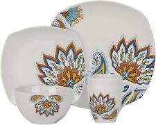 Andria 16-Piece Square Dinnerware Set - Porcelain, Oven Safe, Paisley, Serve 4