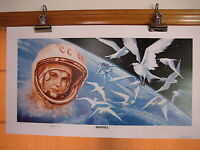 SEAGULL Ltd Ed Lithograph signed by V. Tereshkova and Alexie  Leonov, as artist
