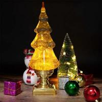 Musical Led Globe Snow Globe Water Glittering Tree Spinning Christmas Tree,Gold