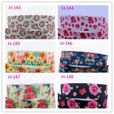 "Wholesale 7/8"" Flower Printed Grosgrain Ribbon 22mm 5/10Yards Bulk"