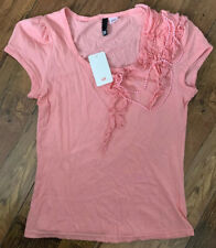 H&M T Shirt Size UK 10 / 36 Pink | Beaded Short Sleeve NEW Top Casual