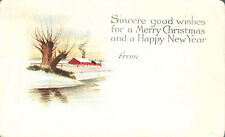 Merry Christmas Happy New Year  Postcard 1915 Country Scene Pink of Perfection