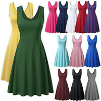 Women Sleeveless High Waist A Line Swing Midi Dress Casual Party Solid Sundress