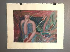Oil Painting Woman & Violin~ Signed Original ~ Artist Unknown. Suly T.? ~ 1 of 4