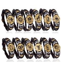Stainless Steel Clasp Leather Bracelet 12 Zodiac Signs Bracelet Men Jewelry