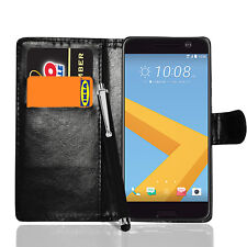 For HTC 10 M10 Premium Leather Flip Wallet Case Stand Cover + Screen + Stylus