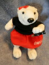1999 COCA COLA Lady Polar Bear in Red Skirt, Black Shirt GREAT LOOKING   EUC