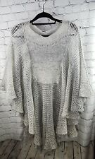 Free People One Size Gray Loose Knit Poncho Style Sweater