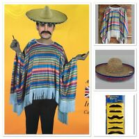 Mens Mexican Poncho Wild West Cow Boy Adult Bandit Fancy DressUp Costume