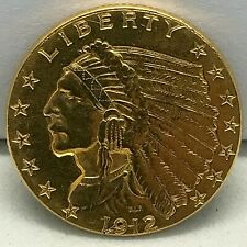 1912 $2.50 Dollar United States Indian Head Quarter Eagle Gold Coin 2.1/2  C#21