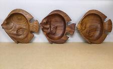 Vtg Wood Fish Shape Bowls - Hand Carved - Trinket Dishes - Hawaiian - Lot Of 3