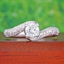 1 carat tw Round Diamond Wedding Ring 14k White Gold Twist 1/2 ct Solitaire Pave