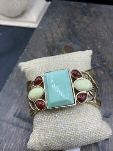 Barse Albion Cuff Bracelet- Mixed Stones & Bronze- New With Tags