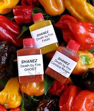 Carolina Reaper  3x15ml Shanez 'Death By Fire' hot sauce Yellow Scorp Ghost.
