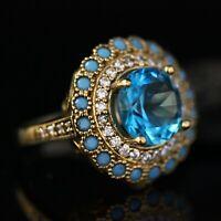 925 Sterling Silver Handmade Gemstone Turkish Aqua Marine Ladies Ring Size 7-12