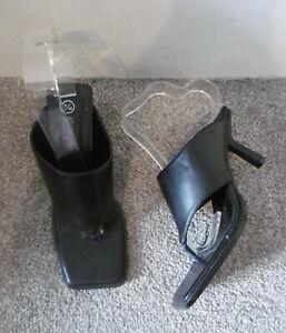 Nasty Gal Black Toe Post Heeled Mules Size UK 6 EU 39 Wide Fit