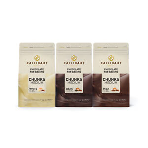 Callebaut Finest Belgian Chocolate Chunks for Baking - Milk, Dark, White - 1Kg