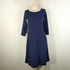 old navy womens knit jersey dress size small blue long sleeve modest fit flare