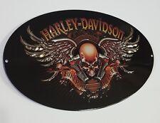 "Harley-Davidson Motorcycles Signs Biker Skull Helmet Tin Metal Man Cave 18"" New"