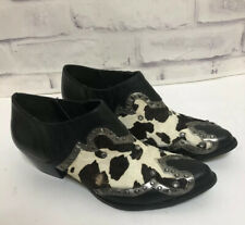 REBA Leather Slip On Western Ankle Bootie Cowboy Boot 8 Black Calf Hair Rodeo