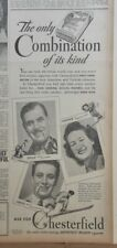 1940 newspaper ad for Chesterfields  - Emil, Yvonne, Louis Cochand family skiers