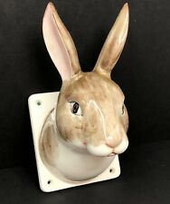 Vintage Hand Painted Ceramic Bunny Rabbit Head Wall Hanging Farmhouse Decor