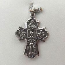 Sterling Silver 4 Way Scapular Medal Cross Charm Pendant  3gr