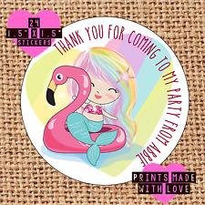 Personalised mermaid flamingo  birthday party bag , sweet cone stickers MfH