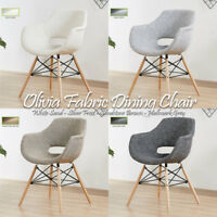 Olivia Eiffel Fabric Armchair Dining Lounge Tub Chair Wooden Legs Scandinavian
