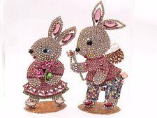 (2) Standing large bunny rabbit flower Easter ornament Czech glass rhinestone