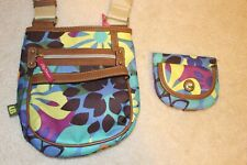 Lily Bloom Multi Colored Polyester Canvas Crossbody Purse Bag With Wallet