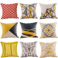 Mustard Pillow Case Yellow Geometric Fall Autumn Cushion Cover Decorative 45*45
