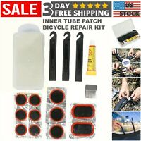 Bicycle Repair Kit Bike Flat Tire Inner Tube Patch with Glue & Lever Tool Set US